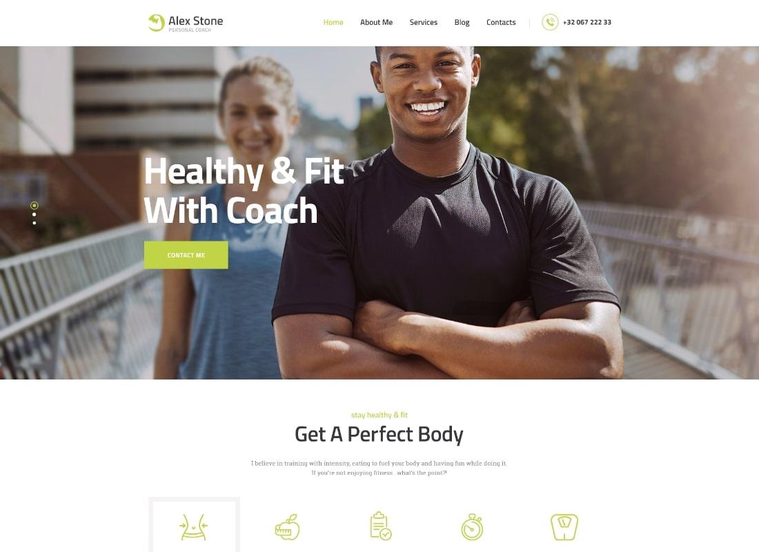Alex Stone | Personal Gym Trainer WordPress Theme