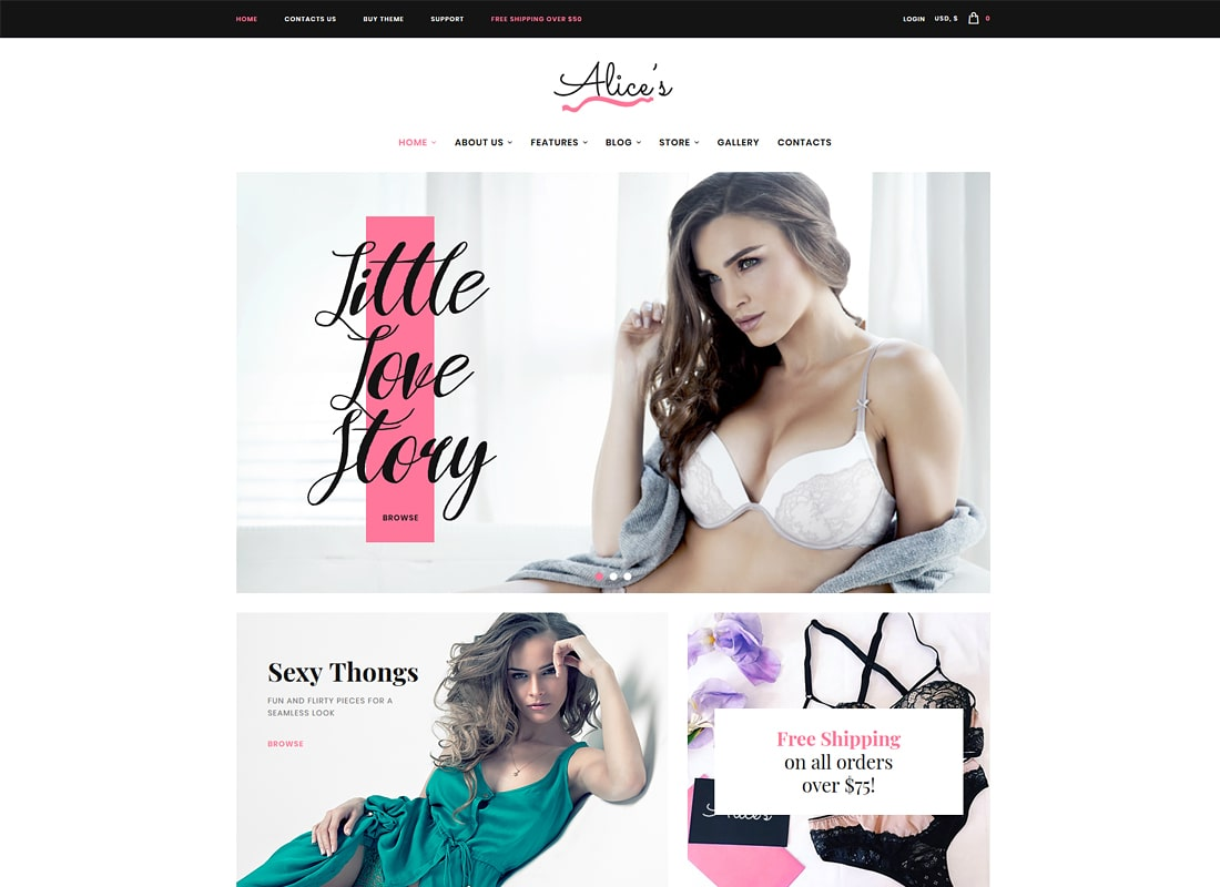 Alice's | Lingerie Store and Fashion Boutique Luxury WordPress Theme