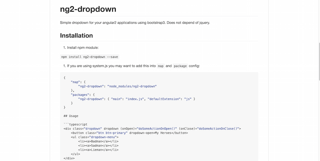 Angular 2 Dropdown using Bootstrap 3