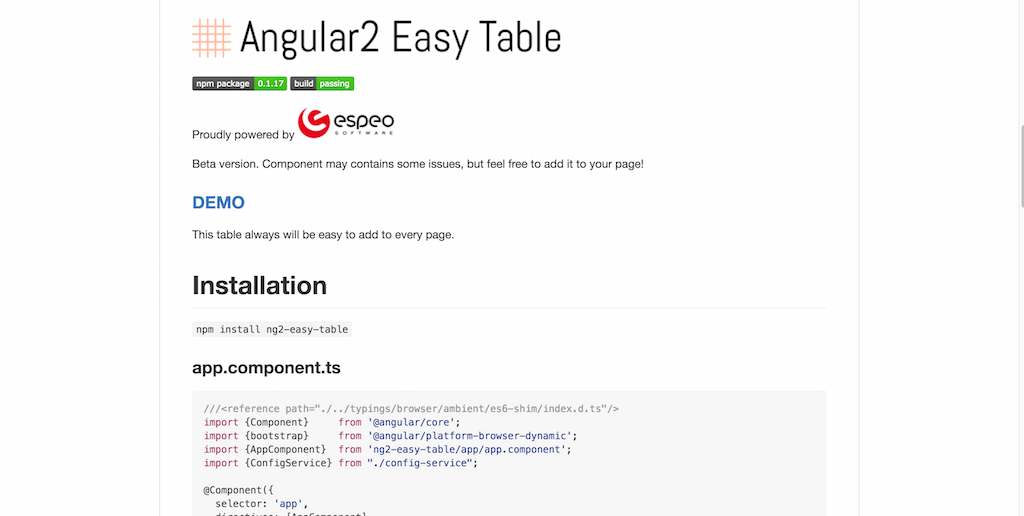 Angular 2 Easy Table