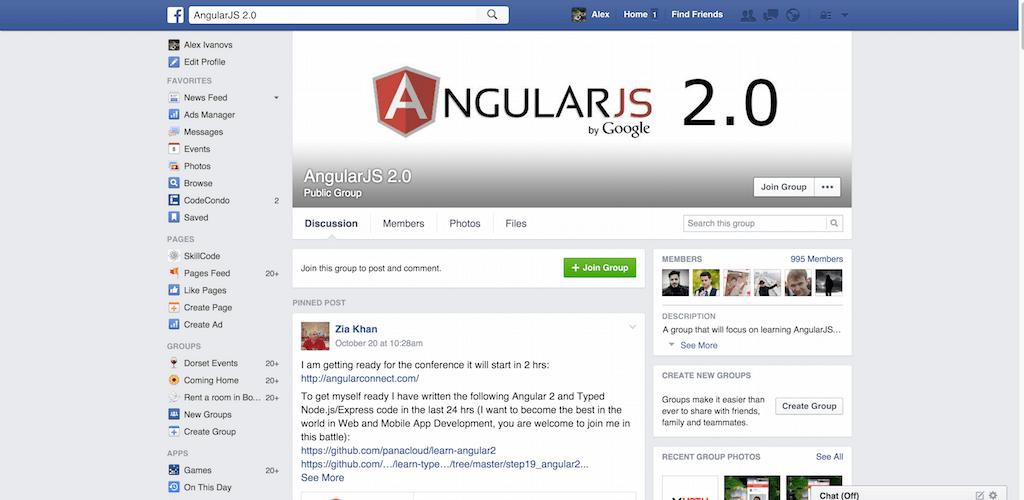AngularJS 2.0 Facebook