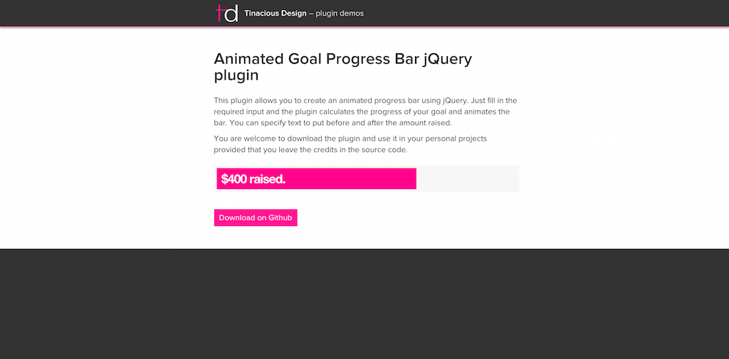 Animated goalProgress Bar jQuery plugin