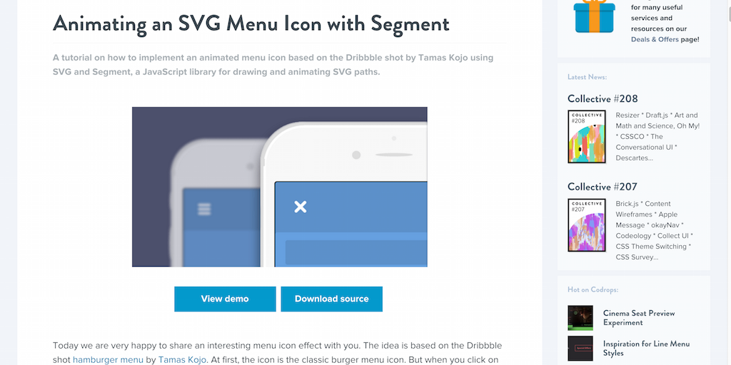 Animating an SVG Menu Icon with Segment