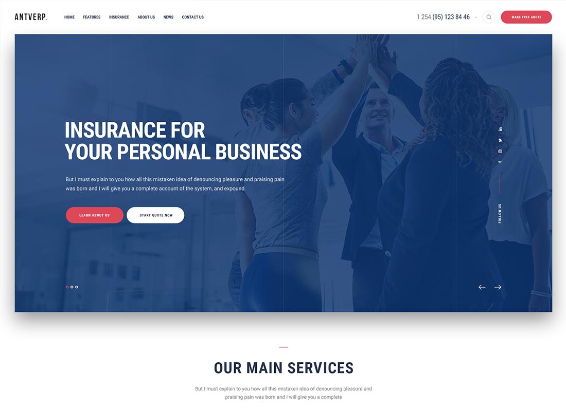 Antverp | An Insurance & Financial Advising WordPress Theme