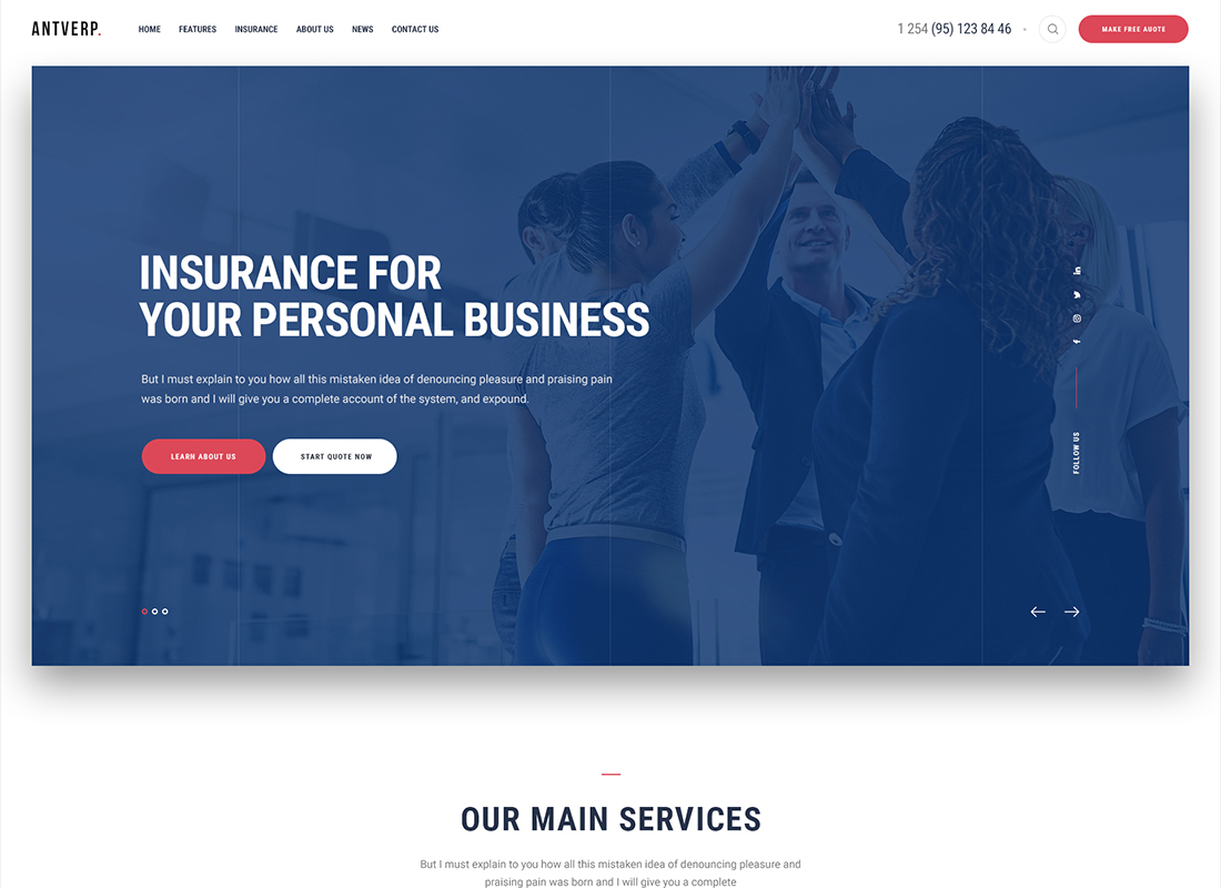 Antverp - An Insurance & Financial Advising WordPress Theme