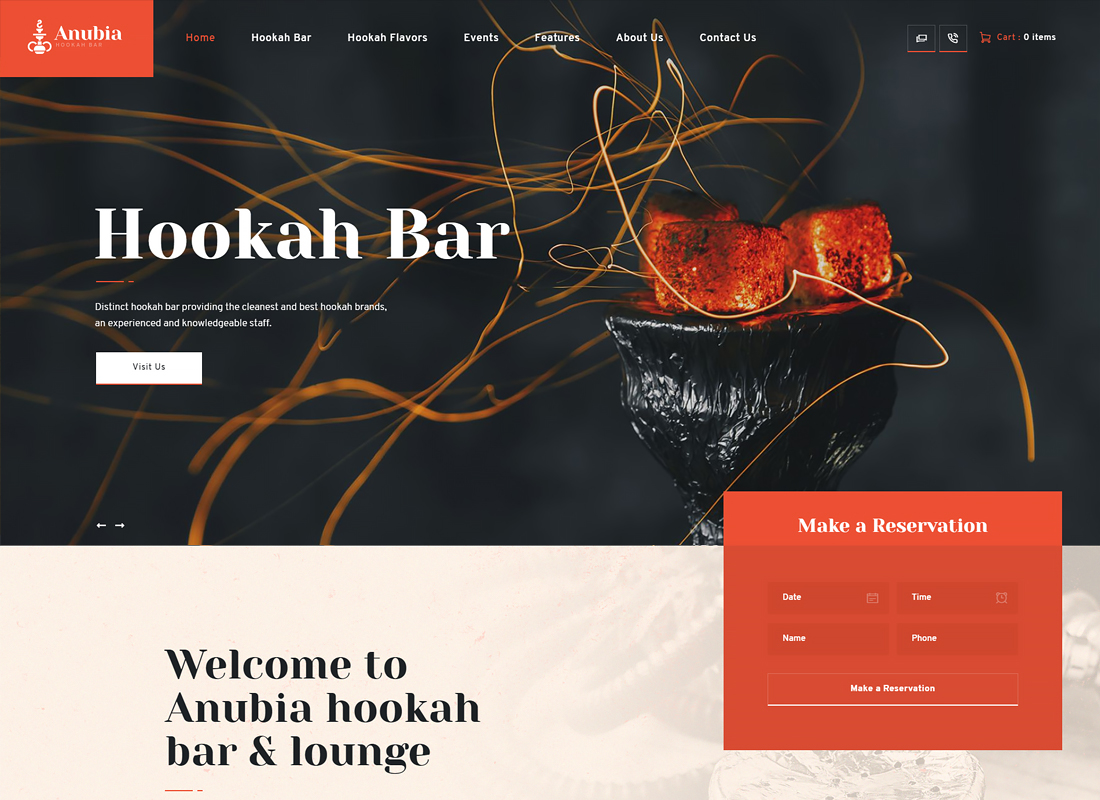 Anubia - Hookah Bar WordPress Theme