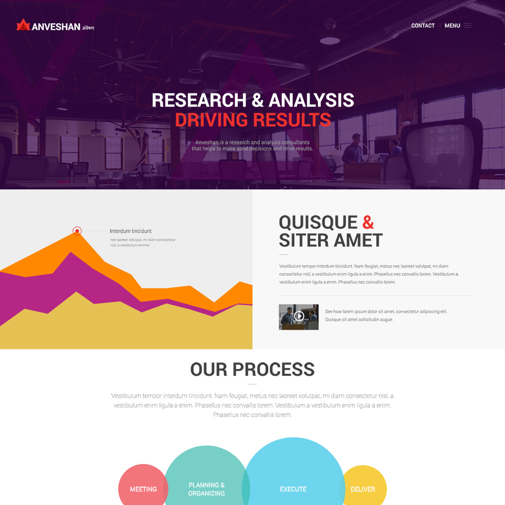 Anveshan PSD One Page Template