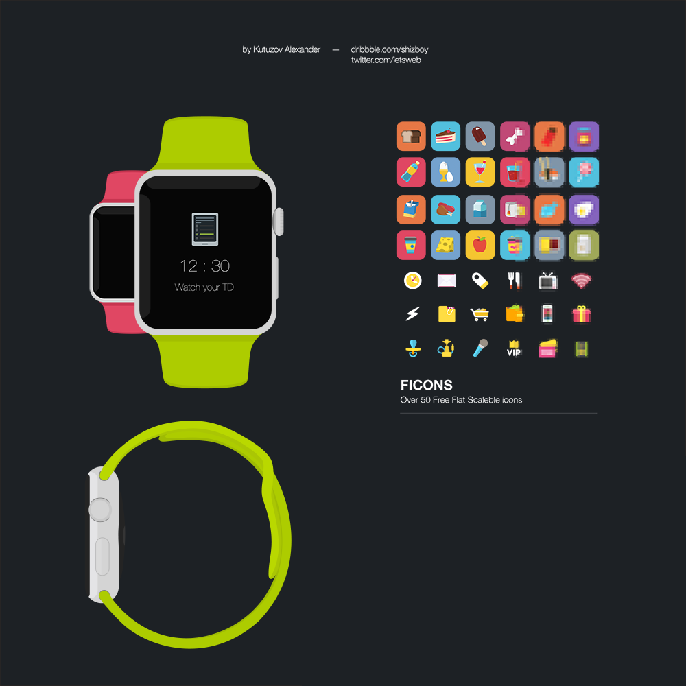 Free Apple Watch Flat Mockup PSD