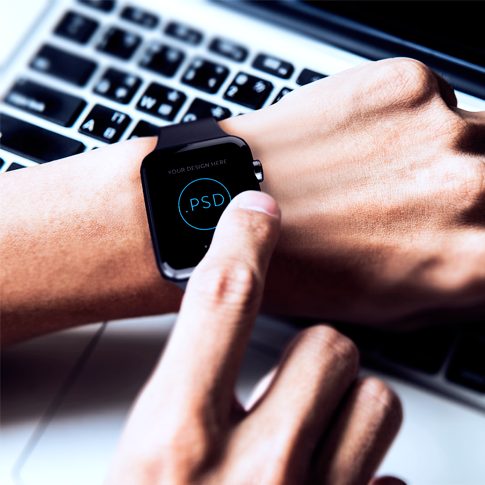 Free Apple Watch PSD Template In Work Environment