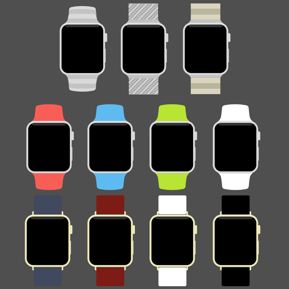 Free Apple Watch Flat PSD Template