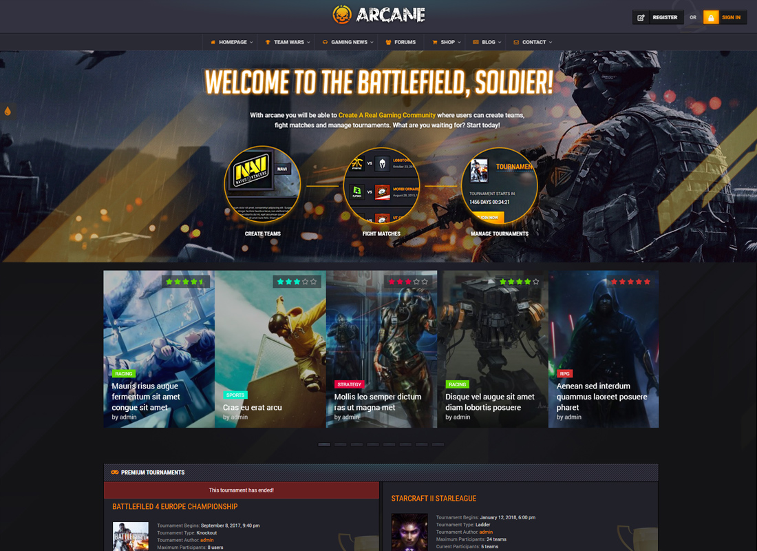 Arcane - The Gaming Community Theme