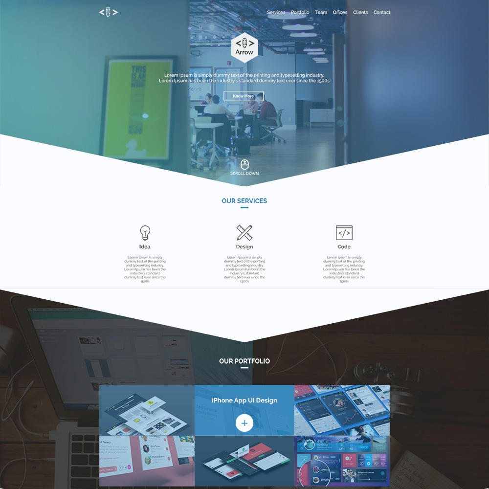 Arrow PSD One Page Template