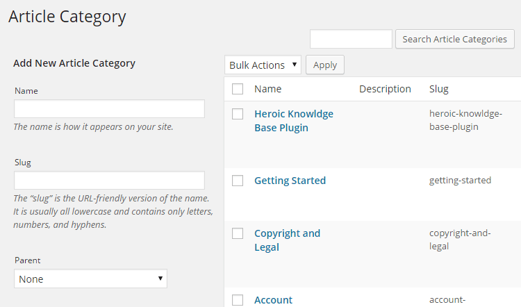 Article Categories
