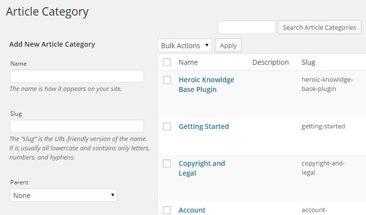 Categorías de artículos