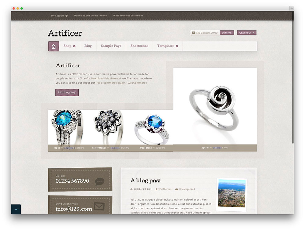 Artificer - free WordPress thtme