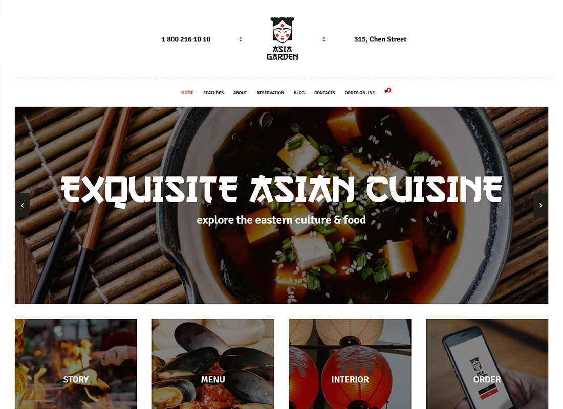 Asia Garden - Asian Food Restaurant WordPress Theme
