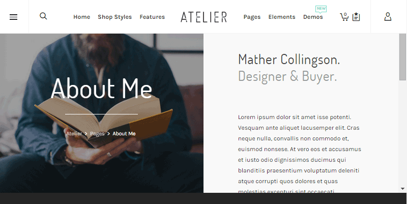 Atelier About Me Page