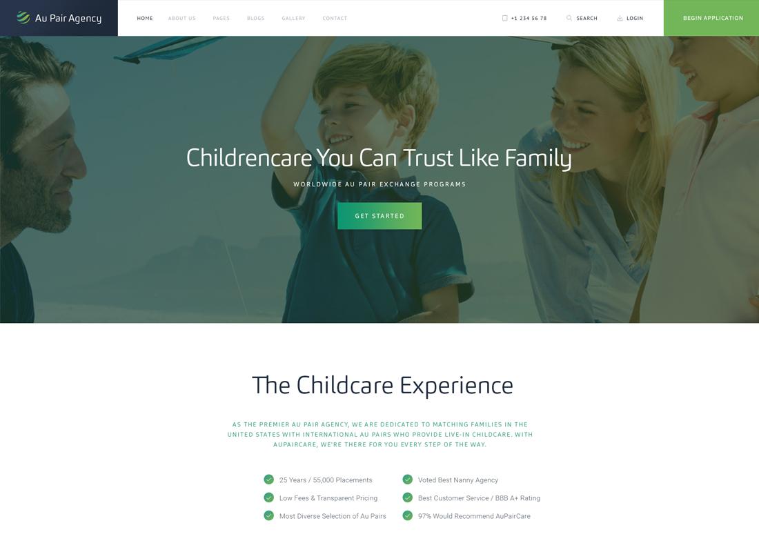 Au-Pair, Babysitting & Nanny Agency WordPress Theme