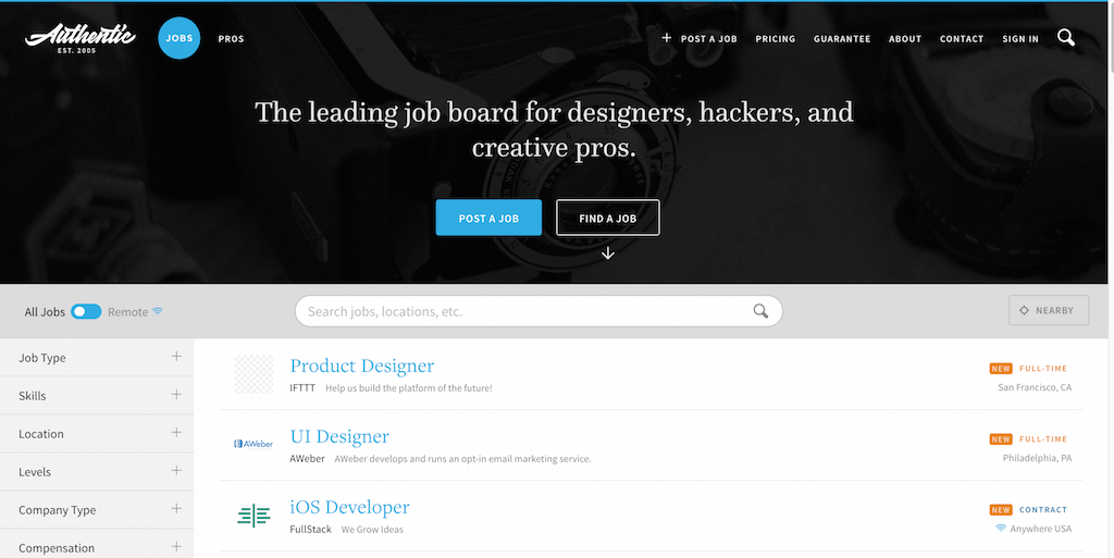 Authentic Jobs Web Design Freelance and Tech Jobs
