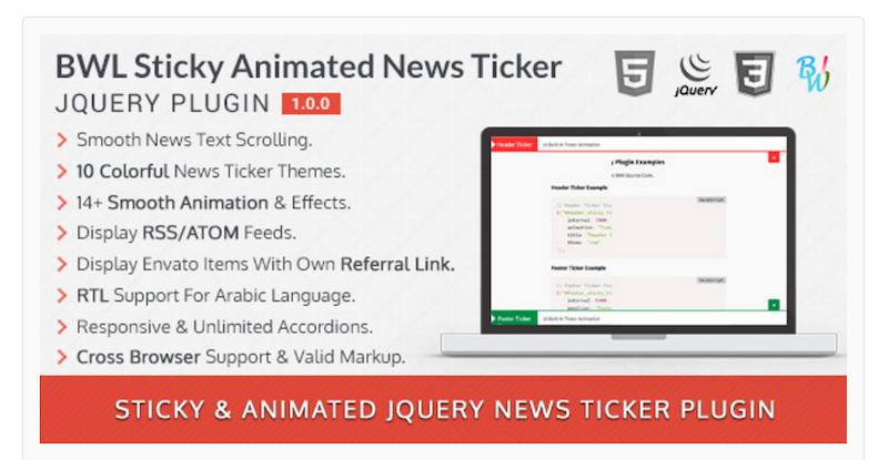 BWL Sticky Animated News Ticker jQuery Plugin