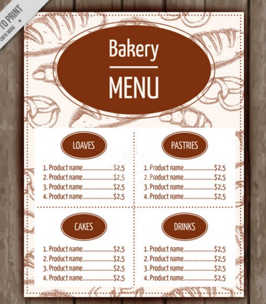 Top Free Restaurant Menu PSD Templates In Colorlib - Bakery brochure template free
