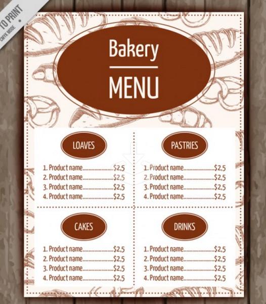 Bakery Menu Template