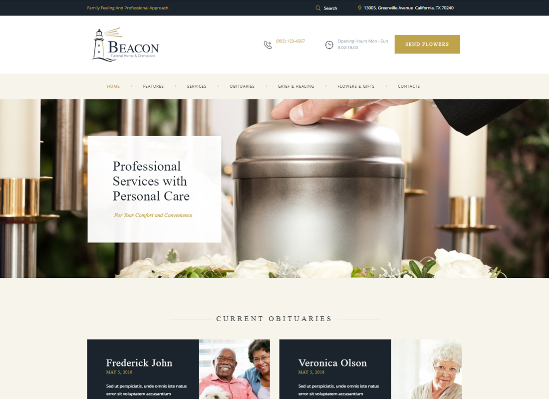 Beacon - Funeral Home WordPress Theme