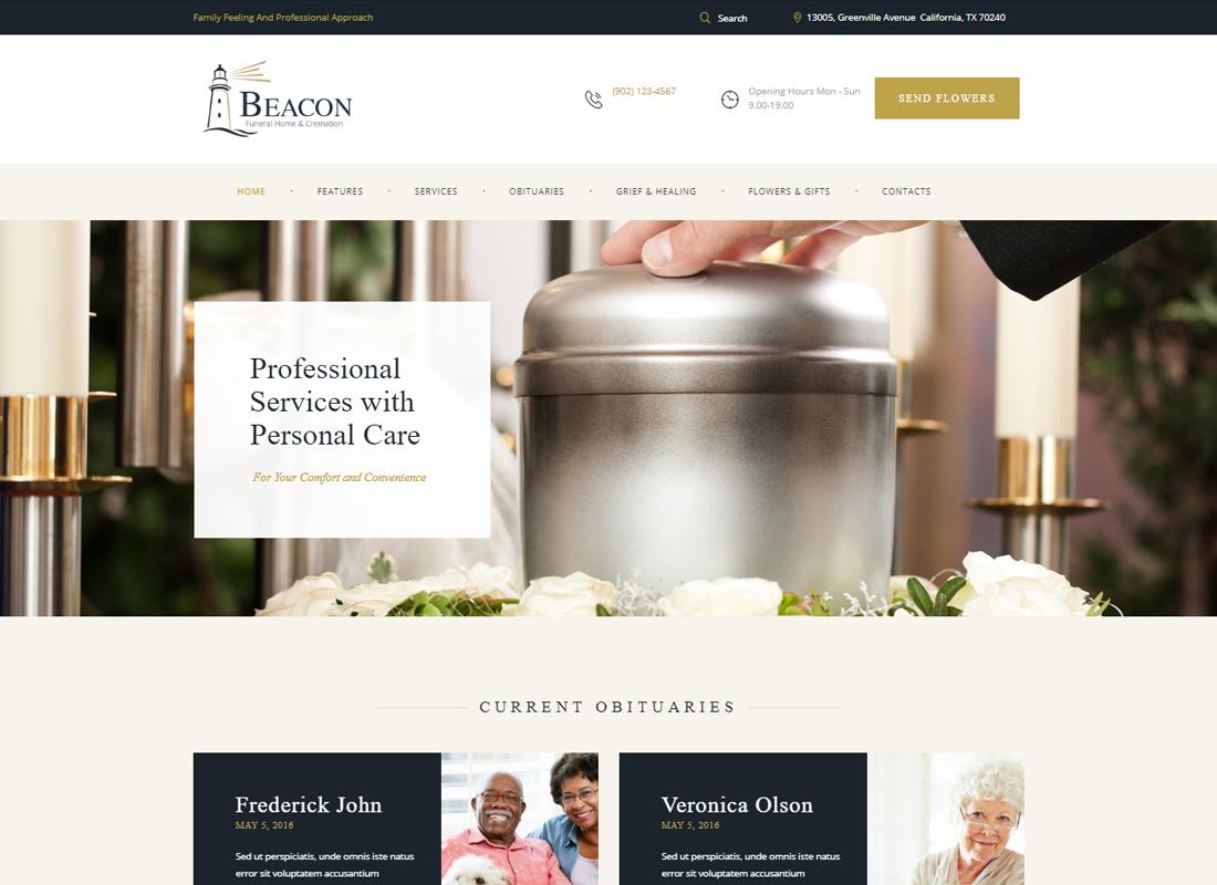Beacon - Funeral Home WordPress Theme