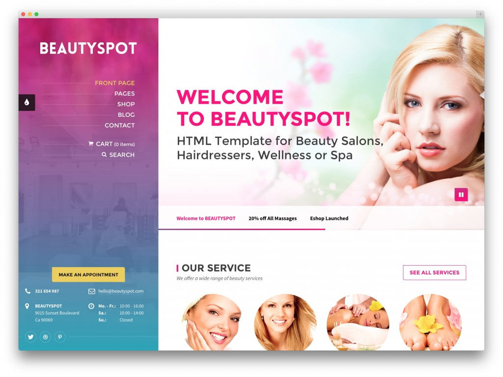 BeautySpot spa salon theme