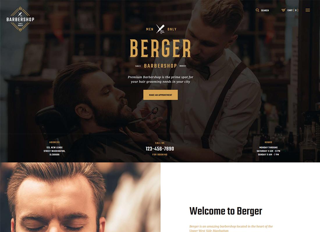 Berger - Barbershop & Tattoo WordPress Theme
