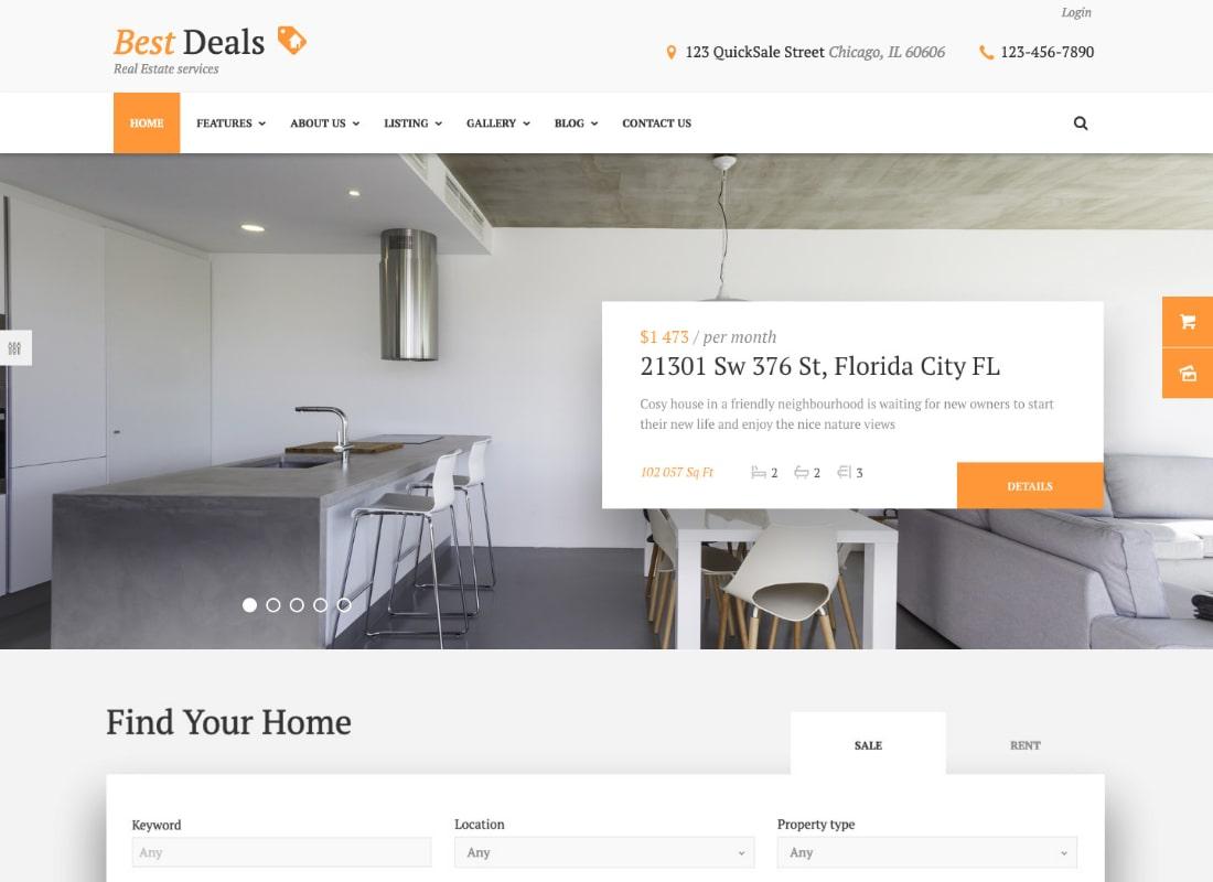Best Deals | A Modern Property Sales & Rental WordPress Theme