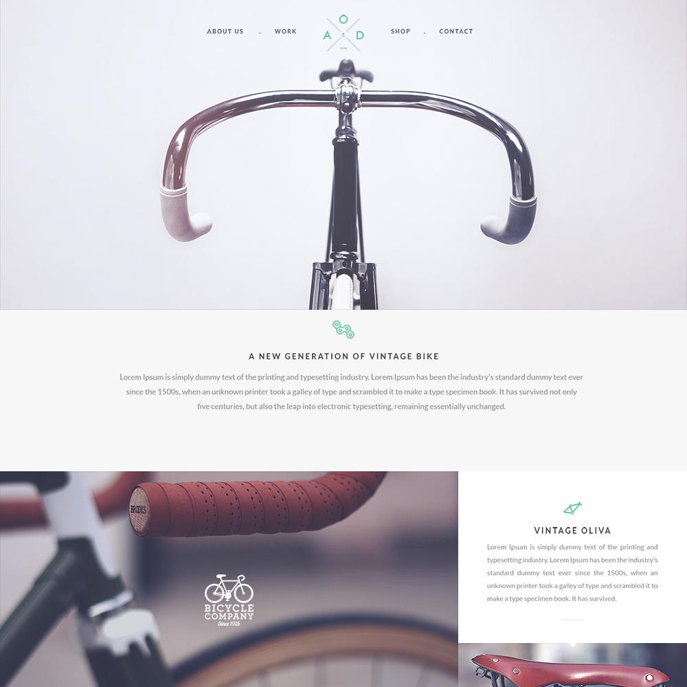 Bicycle Free PSD One Page Templates