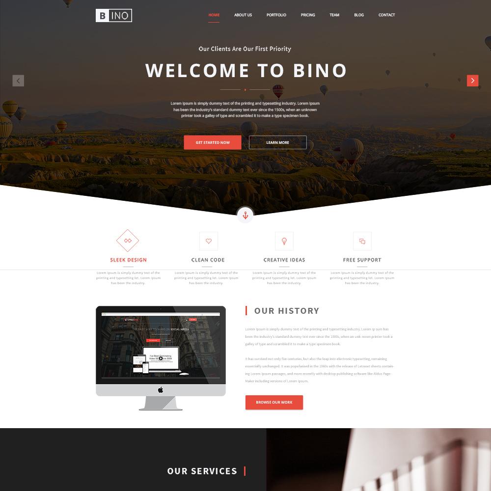 Bino Free PSD One Page Templates