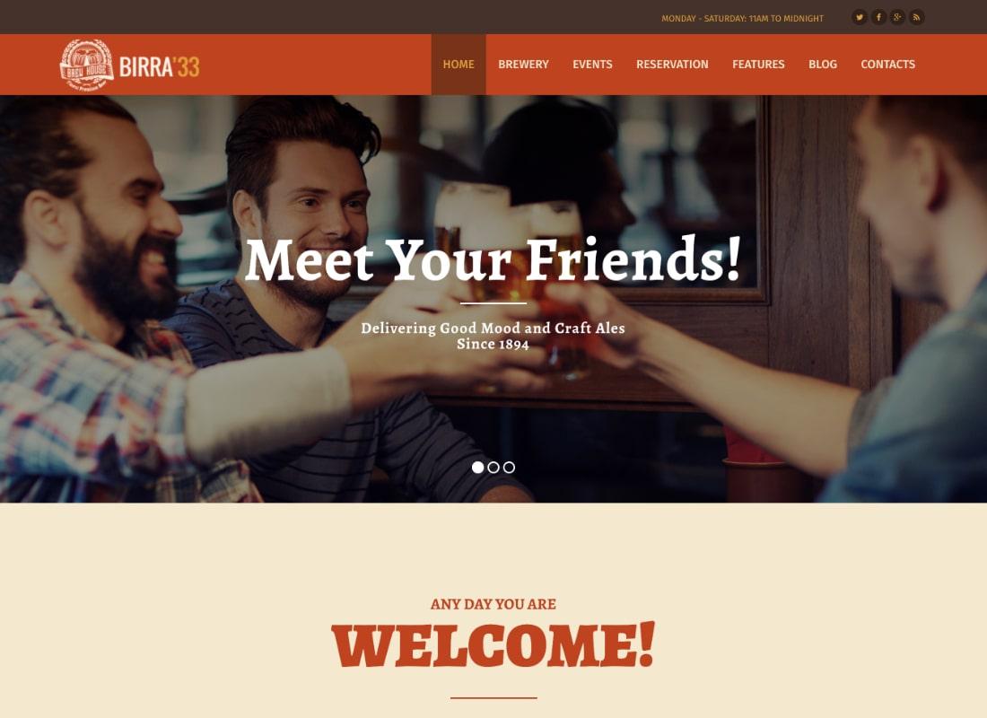 Birra33 - Brewery Brewpub and Craft Beer Shop WordPress Theme
