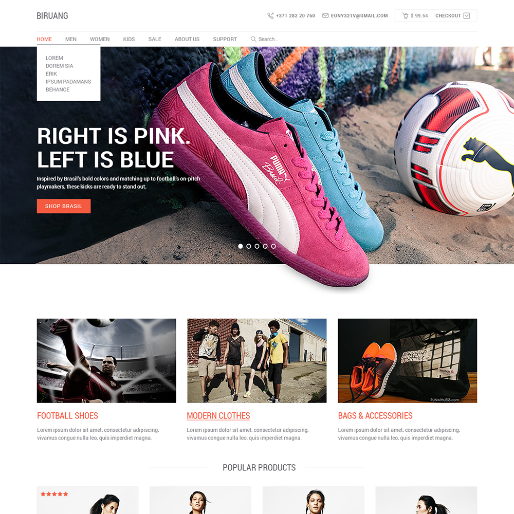 Gmail themes free online - Biruang Free Psd Ecommerce Template