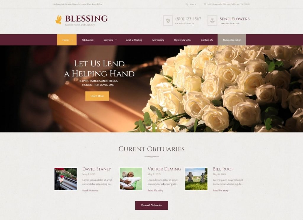 Blessing | Funeral Home Services & Cremation Parlor WordPress Theme