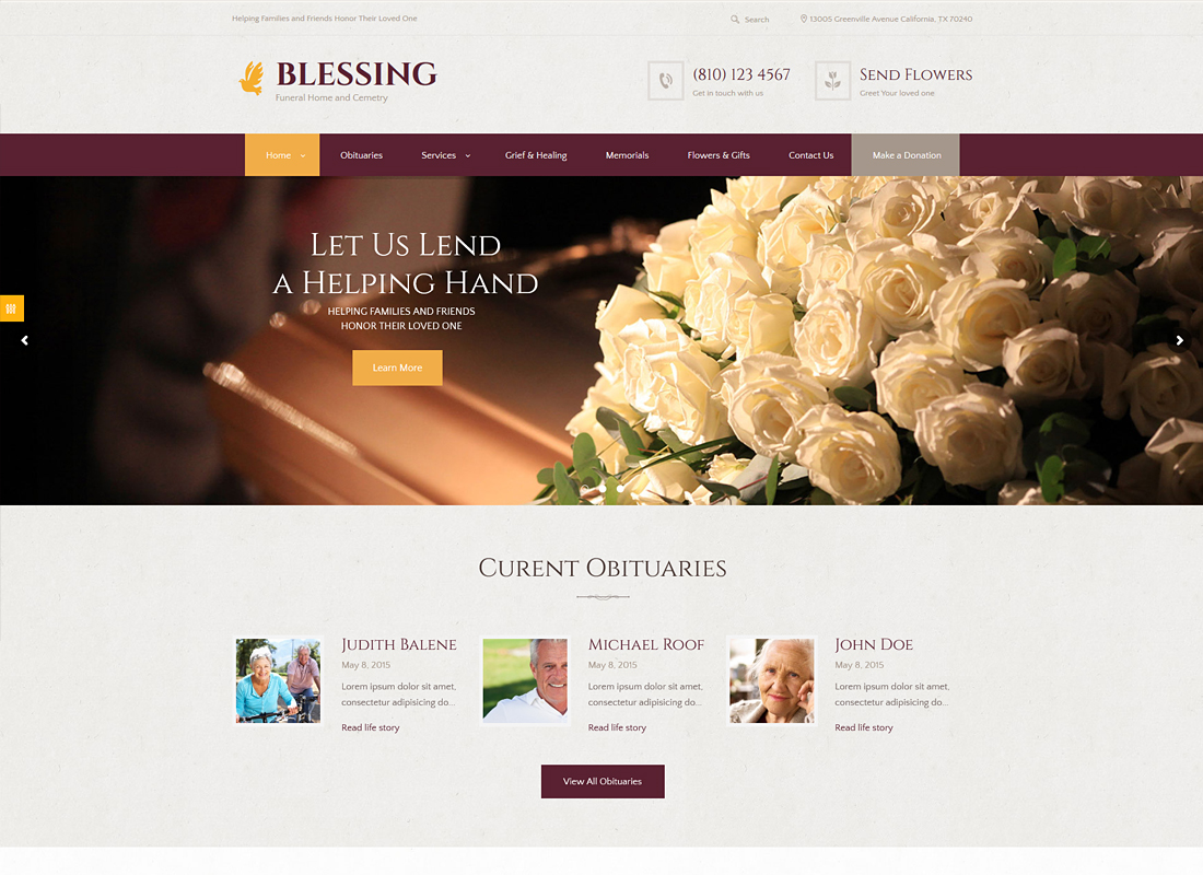 Blessing - Funeral Home WordPress Theme city services WordPress themes