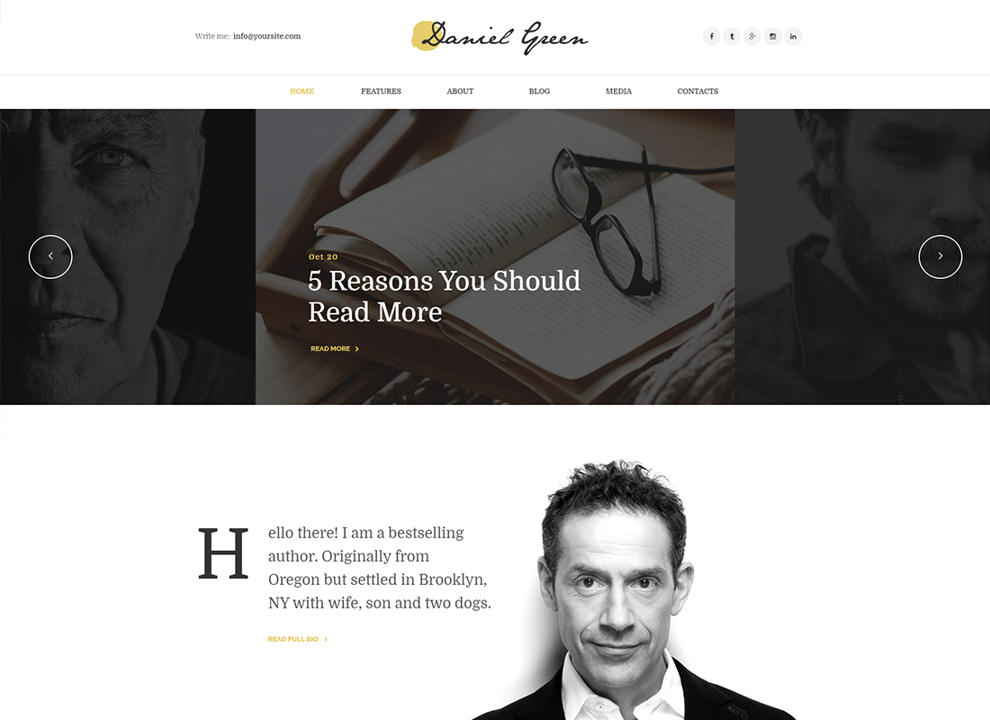 Daniel Green - Blog for Writers and Journalists With Bookstore WordPress Theme