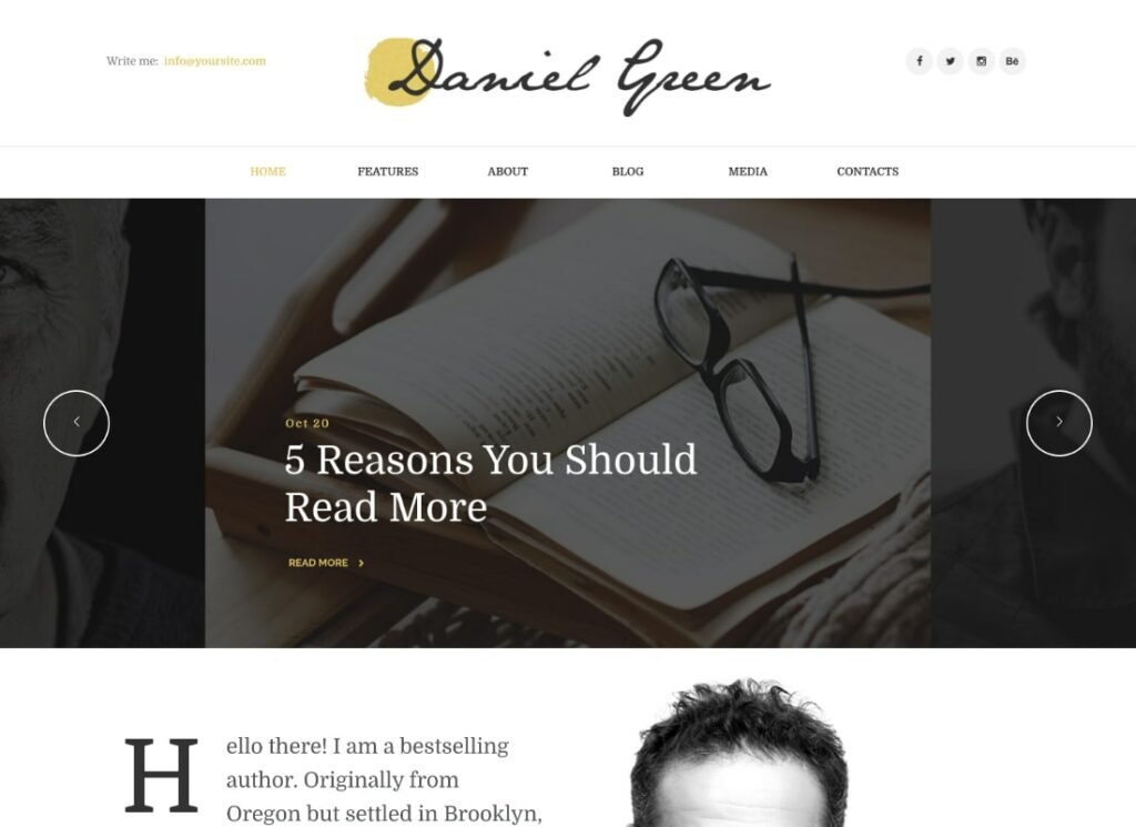 Daniel Green   Blog for Writers and Journalists With Bookstore WordPress Theme