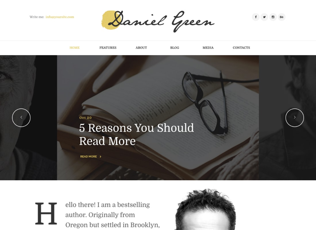 Daniel Green | Blog for Writers and Journalists With Bookstore WordPress Theme