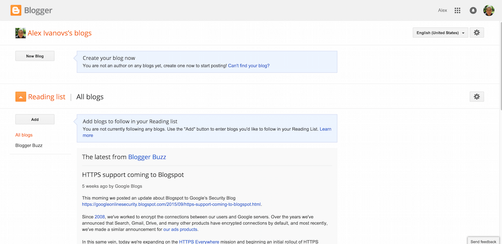 Blogger Blogger Dashboard