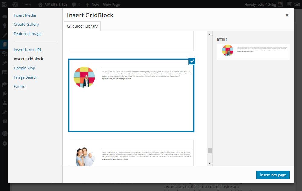 BoldGrid Review GridBlocks