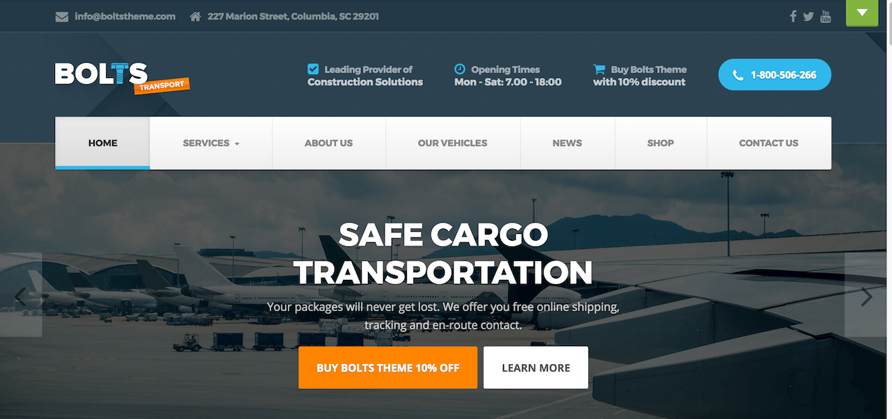 Bolts Transport – Cargo WordPress Theme Demo