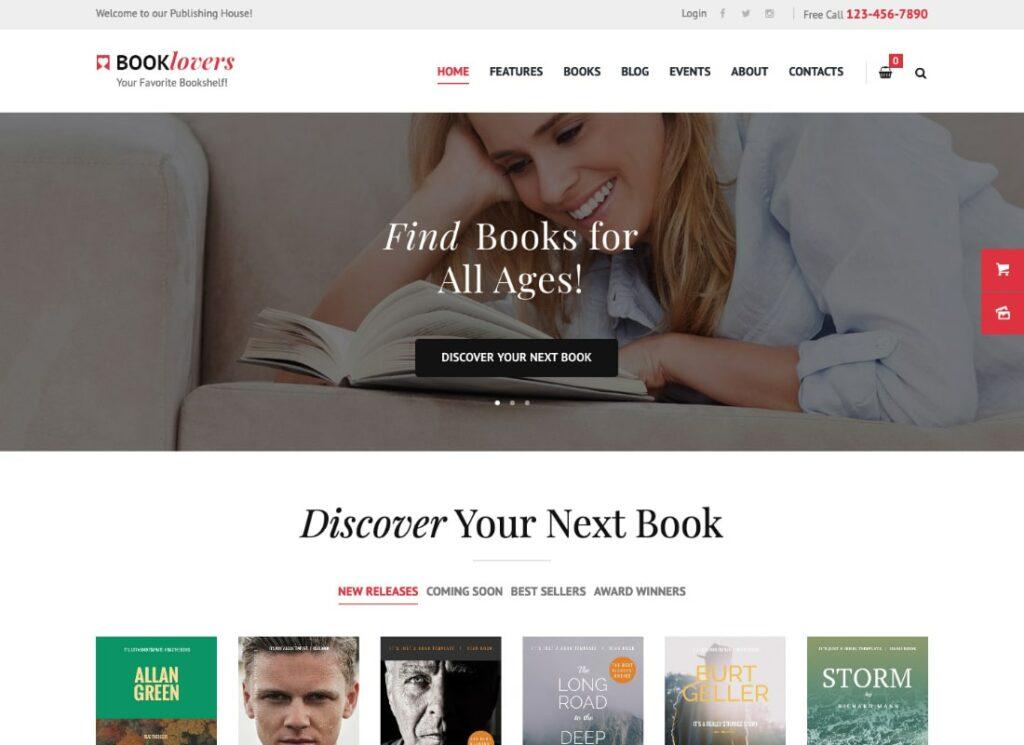 Booklovers   Publishing House & Book Store WordPress Theme