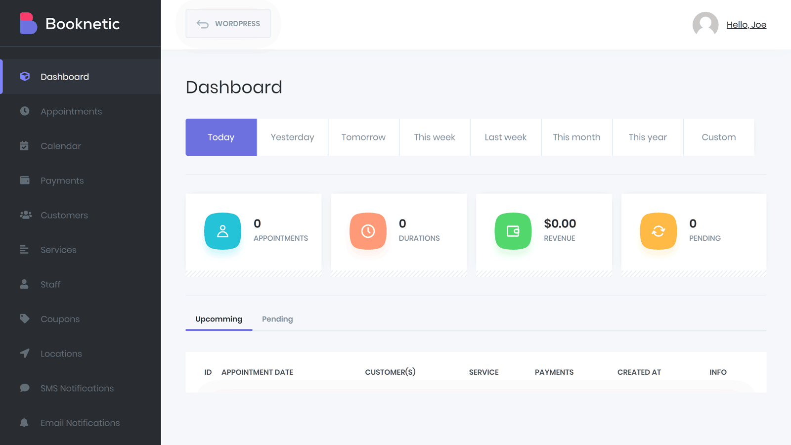 Booknetic Dashboard