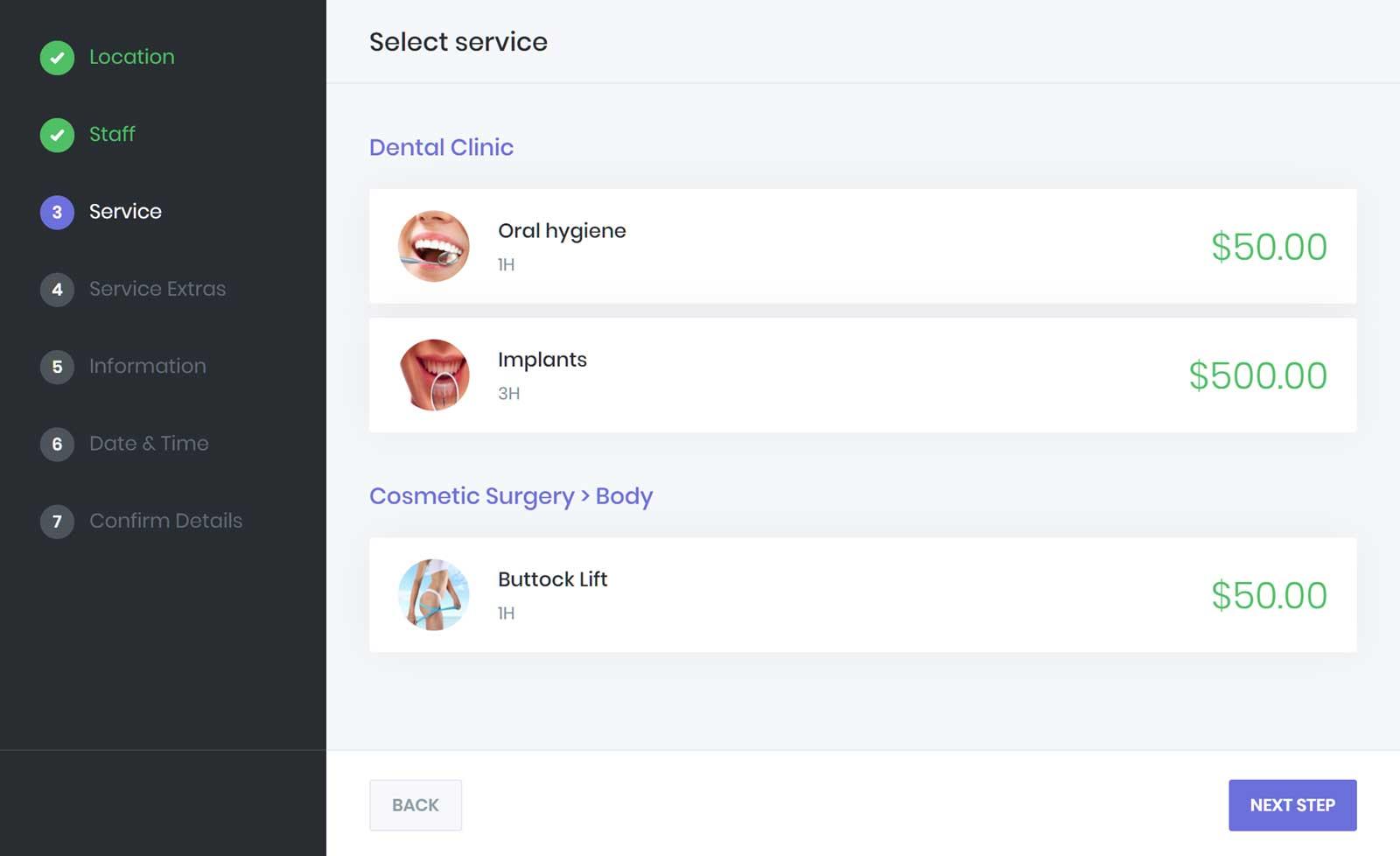 Select a Service