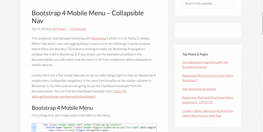 Bootstrap 4 Mobile Menu – Collapsible Nav