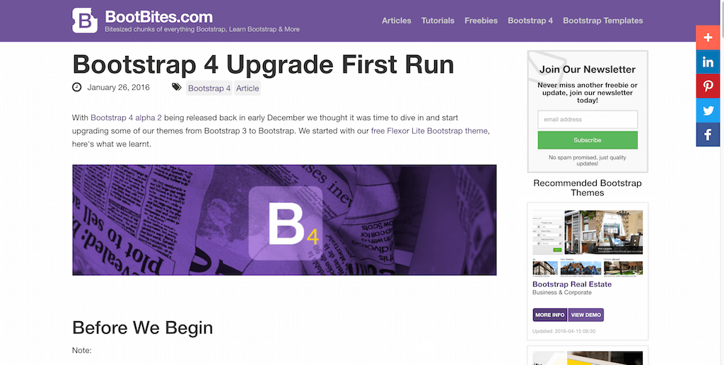 Bootstrap 4 Upgrade First Run