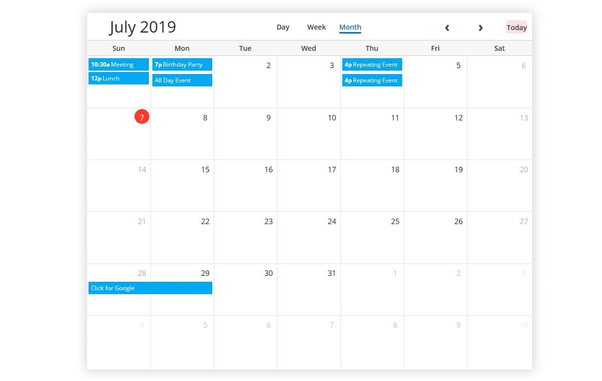 5 best free bootstrap calendars 2019