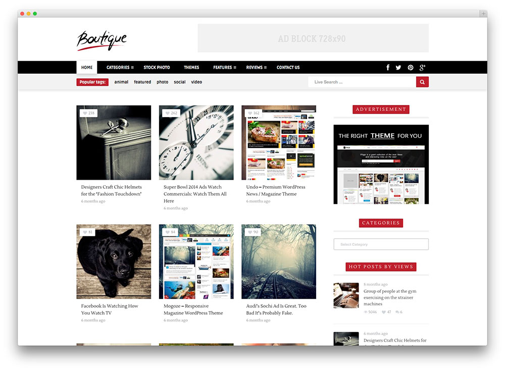 Boutique WordPress grid theme